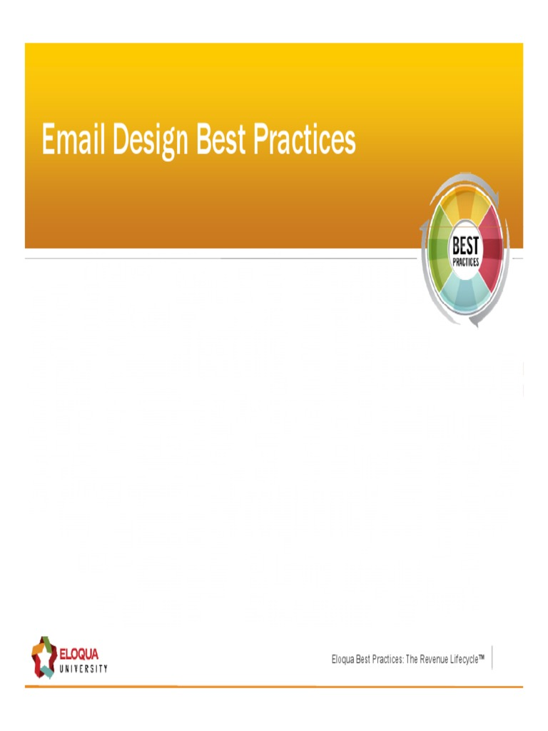 Eloqua Email Design Best Practices Email Brand