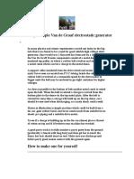 Van de Graaf Generator Plans