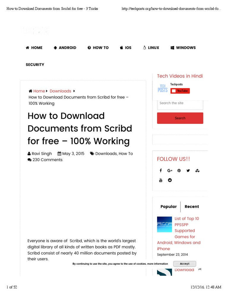 How to Download Documents From Scribd for Free - 3 Tricks | Scribd