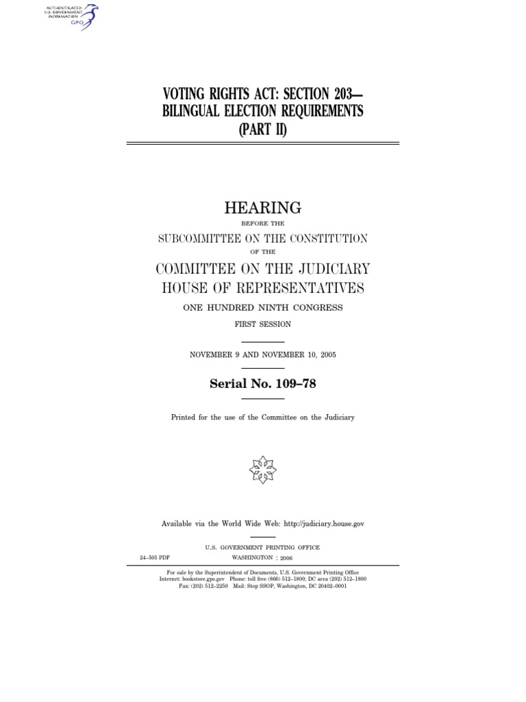 HOUSE HEARING, 109TH CONGRESS - VOTING RIGHTS ACT: SECTION ...