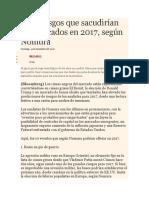 Diez Riesgos Que Sacudirían Los Mercados en 2017