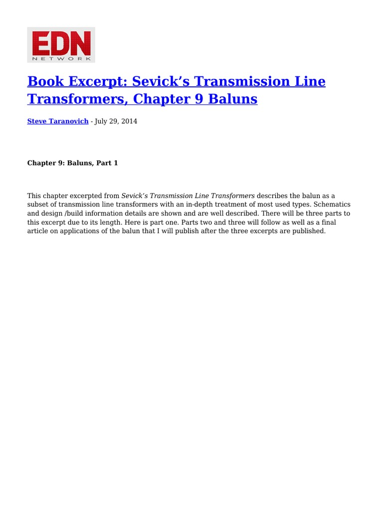 Book Excerpt Sevick s Transmission Line Transformers Chapter 9 ... on