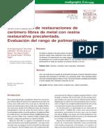 Cementacion de Restauraciones de Ceromero Libre de Metal Con Resina