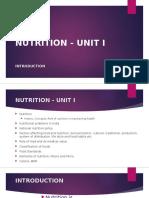 Nutrition Unit I