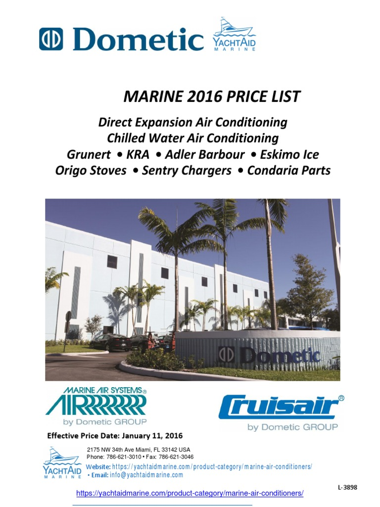 2016 Dometic Price List Marine Air Conditioner