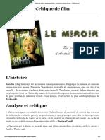 2 Le Miroir de Andreï Tarkovski (1975) - Analyse et critique du film -
