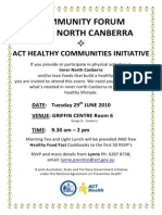 ACT Health - Community Forum Inner North Canberra