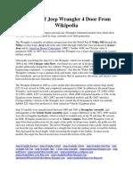 History of Jeep Wrangler 4 Door From Wikipedia