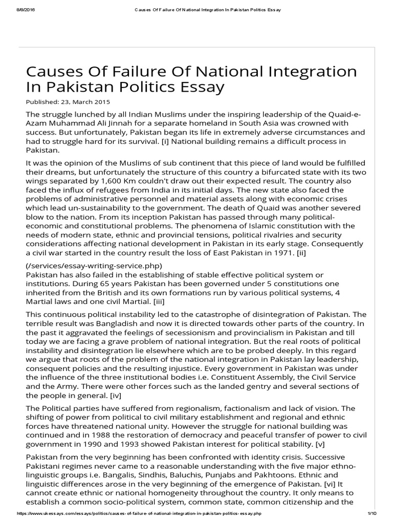 causes of failure of national integration in politics causes of failure of national integration in politics essay muhammad ali jinnah