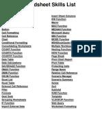 Excel 2007 Spreadsheet Skills List