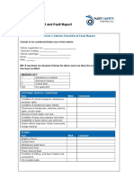 19 Vehicle Checklist & Fault Reporting Form