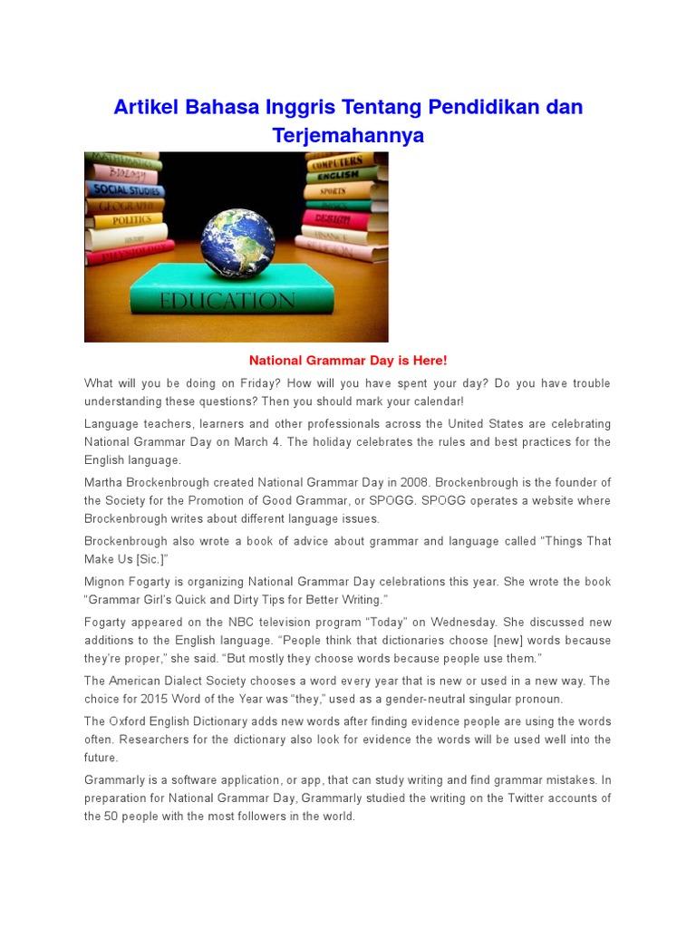 Artikel Bahasa Inggris Tentang Pendidikan Docx Programme For