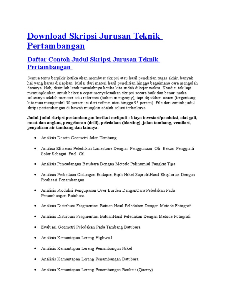 Download Skripsi Jurusan Teknik Pertambangan