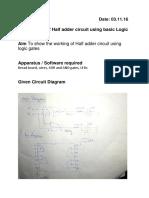 14. Design of Halfadder Circuit Using Logic Gates