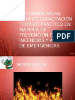 Programa Anual 2016 en Materia de Prevención de Incendios y Atención de Emergencias