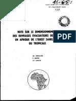 Note Sur Le Dimensionnement Des Ouvrages Evacuateurs de Crues en Afrique de l'Ouest Sahelienne Ou Tropicale