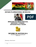 Informe de Gestion 2014 Gobierno de Bolivia