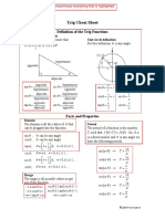 Trig Cheat Sheet from Johns Hopkins