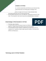 Advantages & Disadvantages, Technology of Mechanisation in Oil Palm Plantation