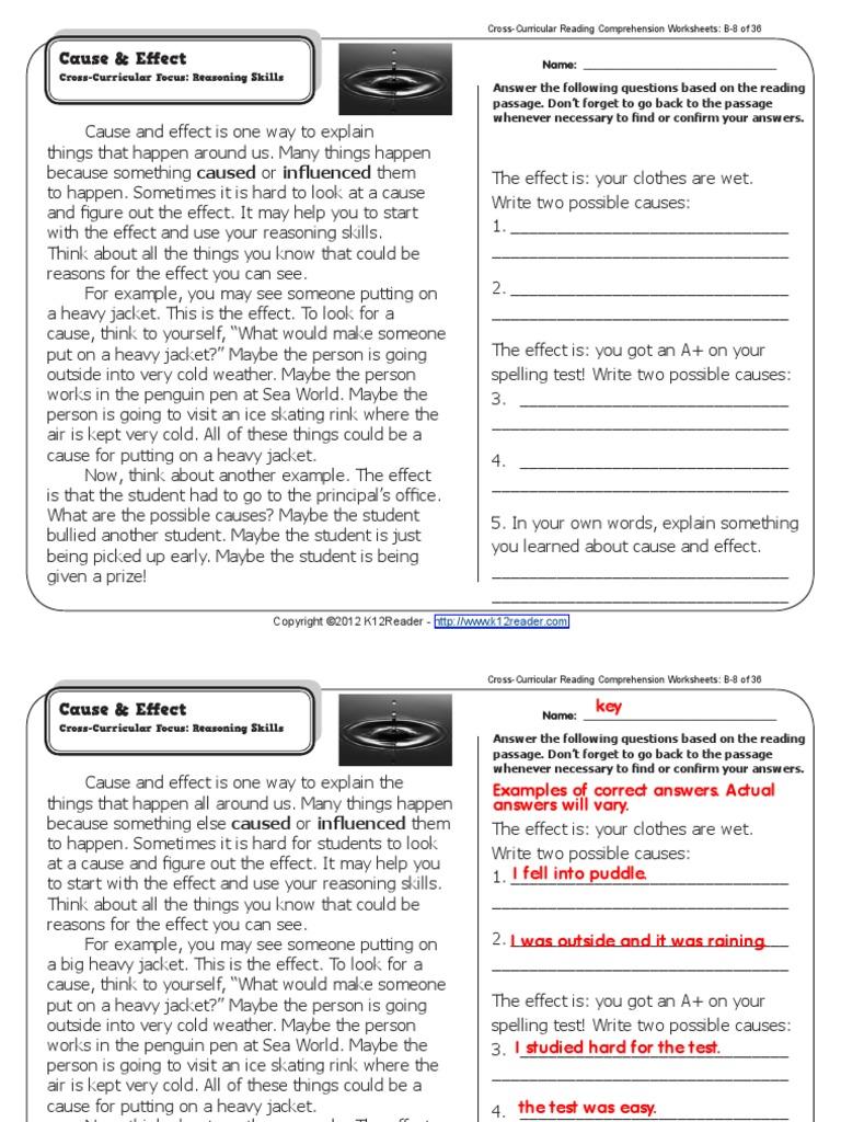 cusa y efecto esl reading.pdf | Causality | Reading (Process)