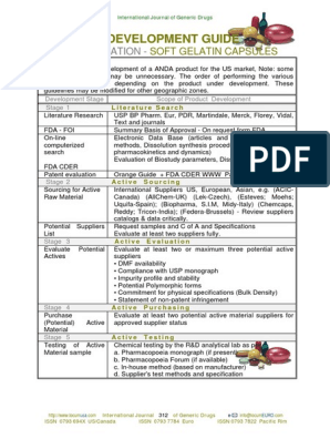 Product Development Guideline and Check List for Softgel Cap