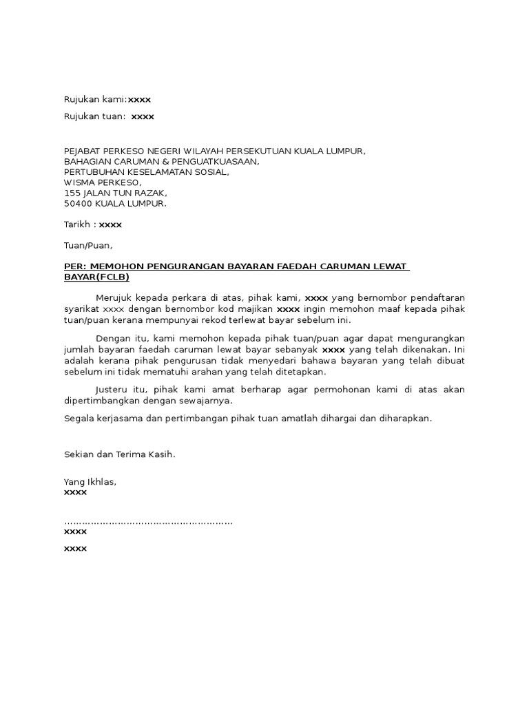 Contoh Surat Permohonan Caruman Lewat Bayar Perkeso Fclb