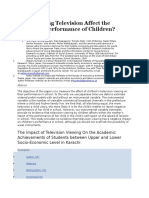 Does Viewing Television Affect the Academic Performance of Children