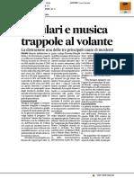 Cellulari e musica, trappole al volante - Il Corriere Adriatico del 13 dicembre 2016