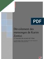 Dévoilement des mensonges de Karim Zentici