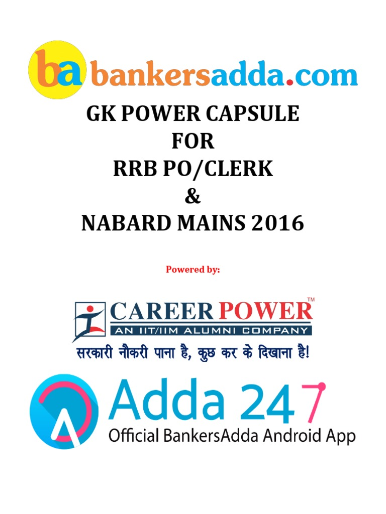 IBPS-RRB-PO-MAINS-CLERK-NABARD-GK-POWER-CAPSULE-2016-17-FINAL.pdf | Reserve  Bank Of India | Banks