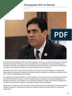 Aprobarán tal cual Presupuesto 2017 en Sonora