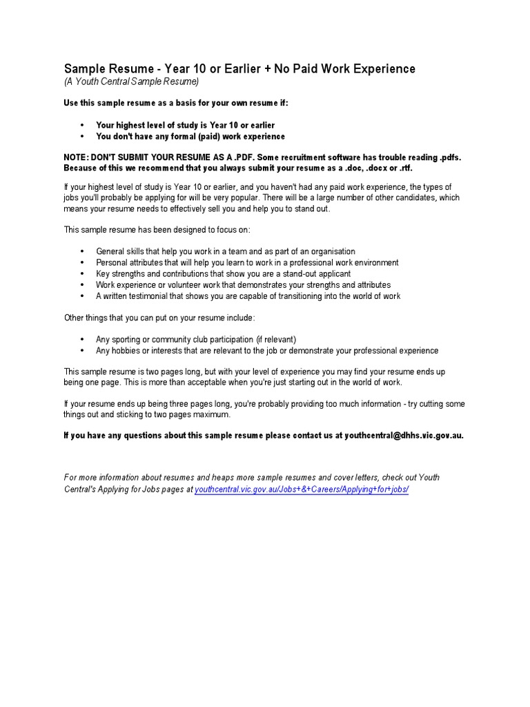youthcentral resume yr10 no work exp