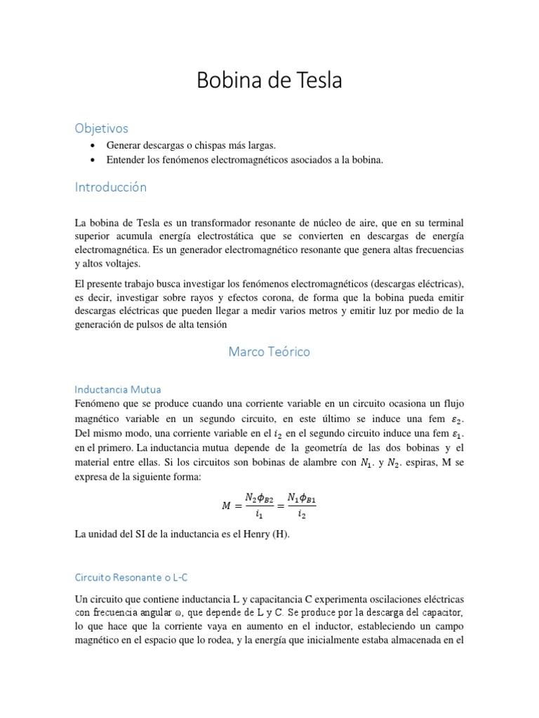 Circuito Bobina De Tesla : Bobina de tesla pdf