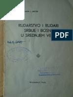 K. Jirecek, Rudarstvo i rudari Srbije i Bosne