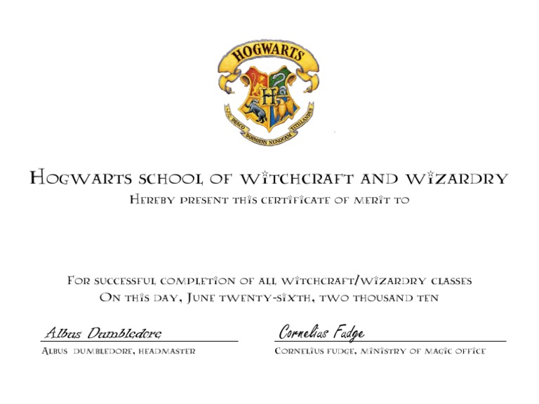 Great Hogwarts Certificate