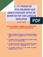 Las 111 Frases de Filósofos Célebres Que Debes Conocer Antes de Morir en PDF Con Links de Descarga