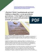 Decizia Curtii Constitutionale Privind Validarea Alegerilor a Creat Precedente Periculoase
