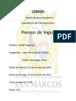 Informe Fisicoquimica 1-Presion de Vapor