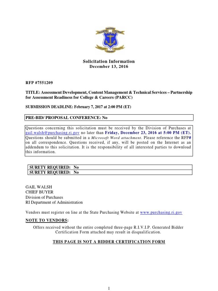 7551209 PARCC Support Services RFP | Request For Proposal