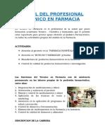 Perfil Del Profesional Técnico en Farmacia