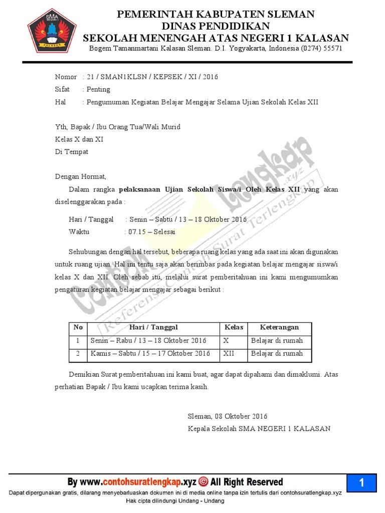Contoh Surat Edaran Sekolah Untuk Wali Murid