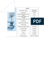 Specifications Milling & Drilling Machines