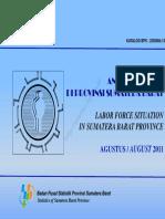 Keadaan Angkatan Kerja Di Provinsi Sumatera Barat Agustus 2011