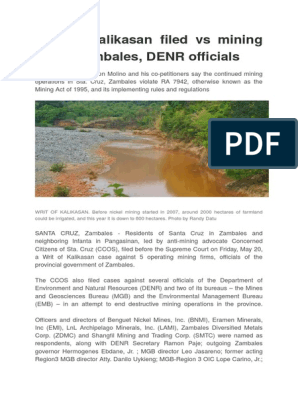 Writ of Kalikasan filed vs mining firms doc | Habeas Corpus