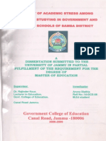 A study of Academic Stress Among Students Studying in Government And Private Schools of Samba District By:- Aruna Slathia