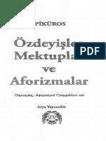Epiküros_Özdeyişler Mektuplar Ve Aforizmalar