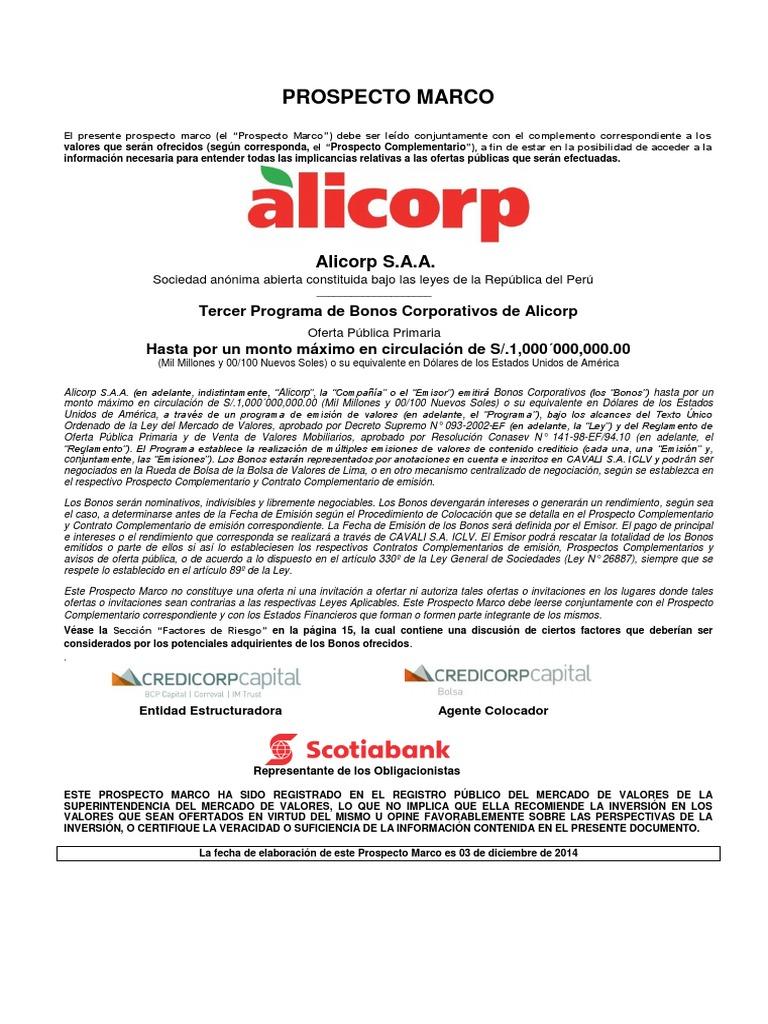 Prospecto Marco Alicorp
