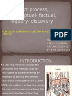 Product-process, Conceptual- Factual, Inquery- Discovery