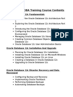 Oracle 12c DBA Training Course Contents