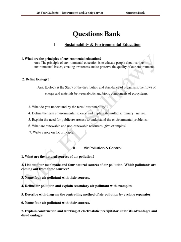 Questions Bank (Dropbox F) | Sewage Treatment (16 views)